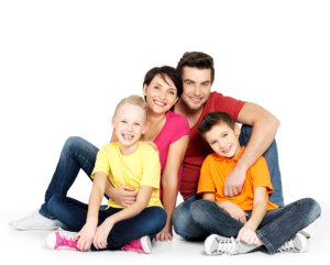 family with white background